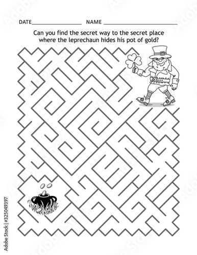 St Patrick's Day maze game or activity page for children: Can you find the secre Canvas Print