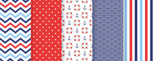 Nautical Seamless Pattern. Vec...