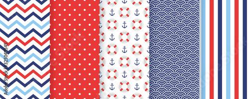 Fotografie, Obraz Nautical seamless pattern