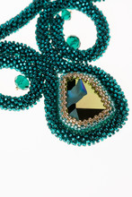 Jewelry Made Of Japanese Pearls. Beaded Necklace. Set Of Beads.Swarovski Stones. Emerald Color. Emerald Beads