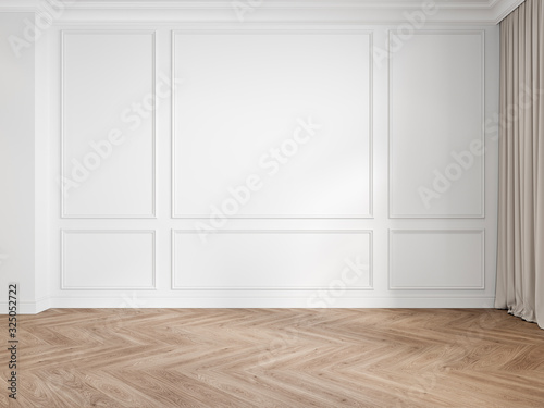Modern classic white interior blank wall with moldings, panelling, wood floor, curtain. 3d render illustration mock up.