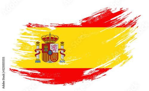 Fotografie, Obraz Spanish flag grunge brush background. Vector illustration.