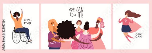 Photo Set of womens day card, banner designs with beautiful diverse women and quotes