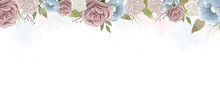 Watercolor Roses And Wild Leav...