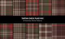 Tartan Plaid Pattern Set. Dark Multicolored Winter And Autumn Check Plaid For Scarf, Flannel Shirt, Blanket, Or Other Modern Textile Print. Striped Texture.