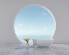 Sea View From Circle Window With Bathtub And Vase On Towel.Modern Interior Design. 3d Rendering