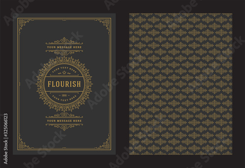 Fototapety, obrazy: Vintage ornament greeting card calligraphic ornate swirls and vignettes frame design vector template
