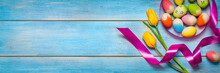 Easter Banner, Colored Flowers...