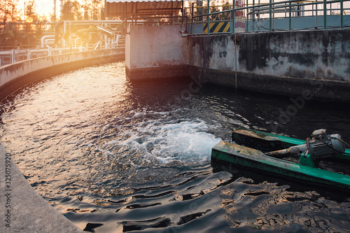 Wastewater treatment system with Agitator bubbling wast water Canvas Print