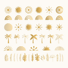 Set Of Golden Summer Symbols. ...