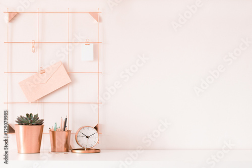 Stampa su Tela Mock up of woman workplace on light background