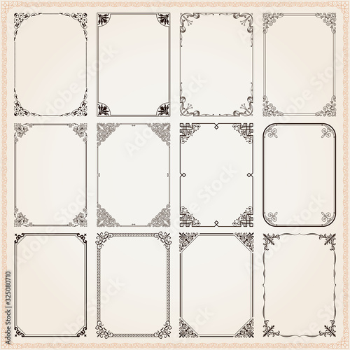 Decorative frames and borders rectangle proportions set 9 Slika na platnu