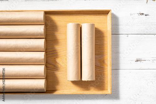 Fotomural Some moxa sticks are in rectangular wooden trays