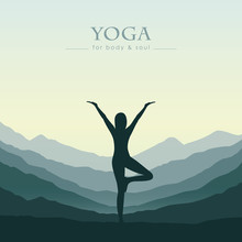 Girl Makes Yoga On Green Mount...