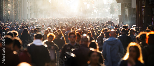 Blurred crowd of unrecognizable at the street Canvas Print