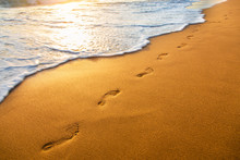 Beach, Wave And Footprints At ...