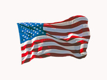 American Flag Waving In The Wind Against A White Background.