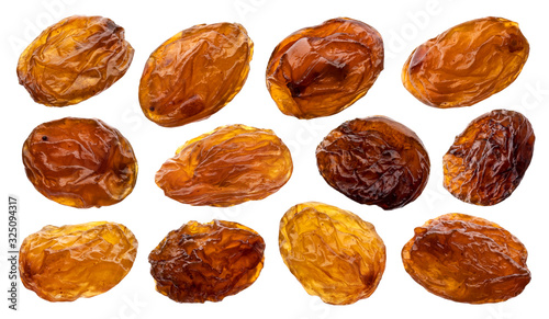 Canvastavla Raisins isolated on white background, close up