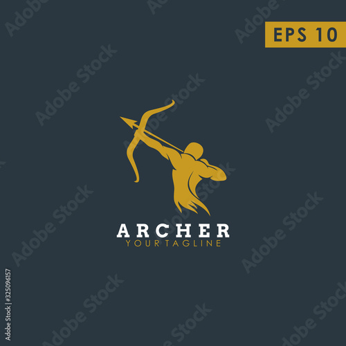Canvas Archer Modern Logo Design Vector Template With Luxury Gold Colour