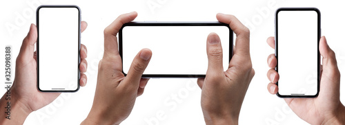 Cuadros en Lienzo Hand holding the black smartphone iphone with blank screen and modern frameless