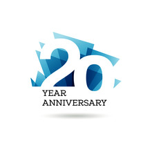 20th Years Anniversary Label For Celebration Of Company
