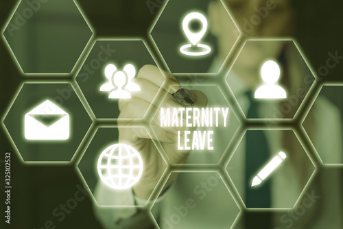 Photo Writing note showing Maternity Leave