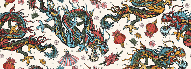 Chinese dragons seamless pattern. Flying snakes, pink fan, red lantern and lo...