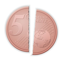Broken Five Euro Cent