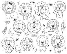 Lions Children Set. Kids Coloring Page. Hand Drawn Vector Illustration.
