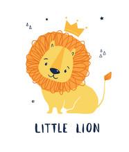 Cute Lion In A Crown.  Hand Drawn Vector Illustration . Children Print.