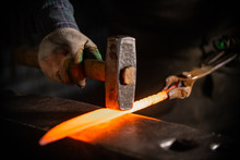 Forging A Knife Out Of The Hot...