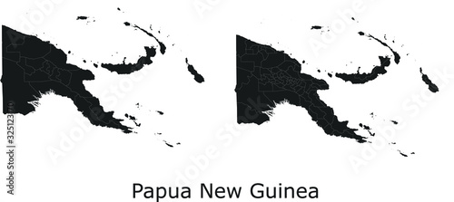 Fotografie, Obraz Papua New Guinea vector maps with administrative regions, municipalities, depart