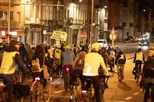 Abendliche Fahrrad-Demo Für Klimaschutz Und Verkehrswende In Brüssel, Belgien