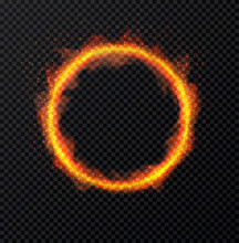Ring Of Fire Flame On Transparent Background. Round Fiery Frame. Vector Illustration