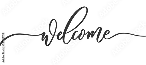 Obraz Welcome - calligraphic inscription with with smooth lines. - fototapety do salonu