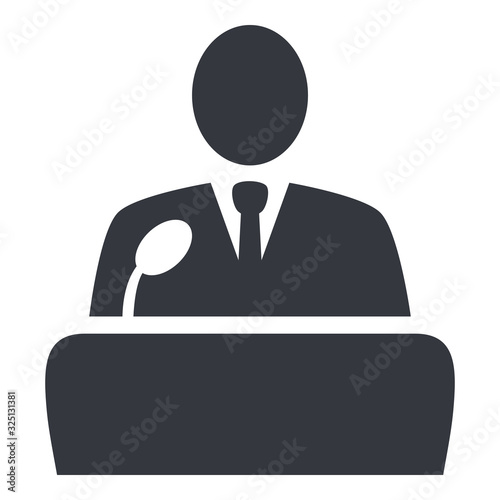 Photo Vector Politician Icon - Man in Suit in front of Microphone