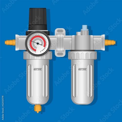 Photo Air Regulator Filter Water Trap Lubricator Gauge Compressor Pressure