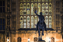 King Richard The Lionheart Statue Outside The Houses Of Parliament In London, England UK