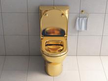 Golden Toilet Bowl In Wc.