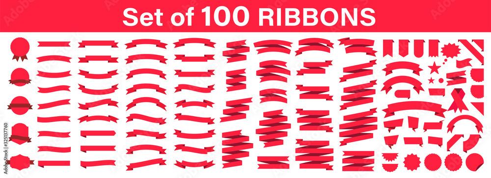 Fototapeta Set of 100 Ribbons. Ribbon elements. Starburst label. Vintage. Modern simple ribbons collection. Vector illustration.