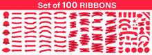 Set Of 100 Ribbons. Ribbon Ele...