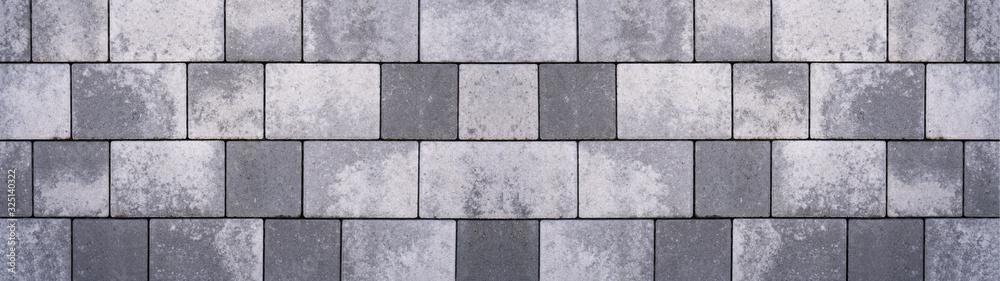 Fototapeta Gray concrete stone pavement texture background banner panorama