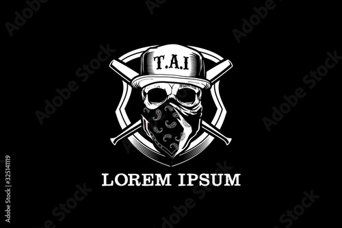 Fotografering Black and White Skull head wear hat and bandana with baseball bat vector logo