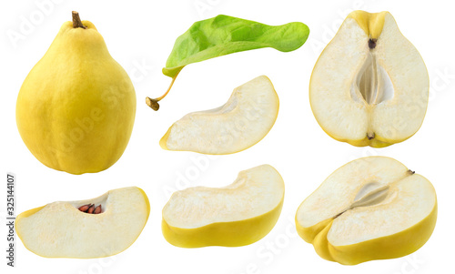 Fotografie, Obraz Isolated cut quince collection