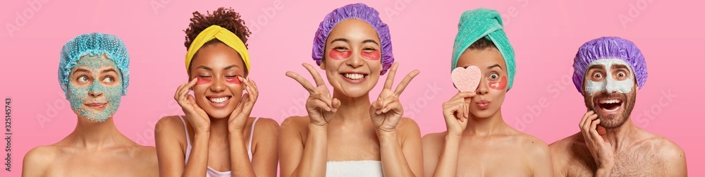 Fototapeta Set of various women applies undereye patches, man with clay nourishing mask, attend beauty salon, being in good mood, stand half naked against pink background. Face treatment and wellness concept