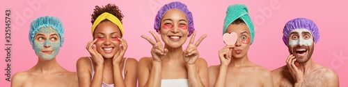 Set of various women applies undereye patches, man with clay nourishing mask, attend beauty salon, being in good mood, stand half naked against pink background. Face treatment and wellness concept