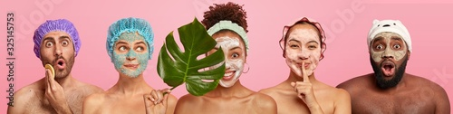 Collage of women and men care about complexion, apply facial masks, stand with bare shoulders, stand against pink background. Beauty treatment, grooming and wellbeing concept. Set of people.