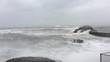 Large Hurricane Waves Crash Into Coast