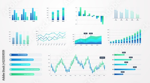 Histogram charts. Business infographic template with stock diagrams and statistic bars, line graphs and charts for presentation and finance report. Vector set charting on dashboard