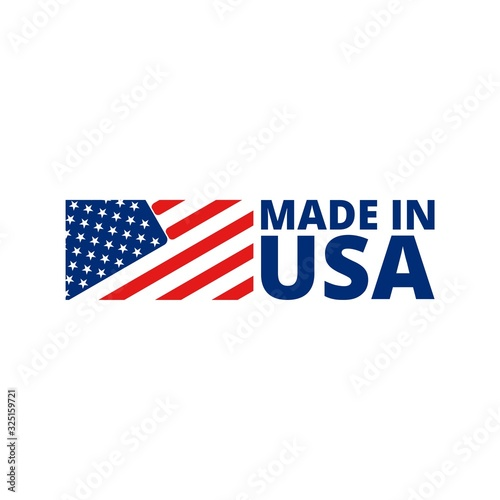 Made in USA badge with american flag Tableau sur Toile